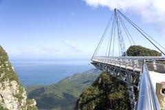Ponte de suspensão curvada Fotografia de Stock Royalty Free