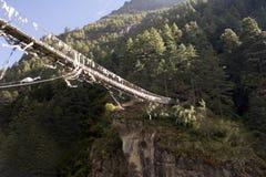 Ponte de suspensão de Dudh Koshi Fotos de Stock