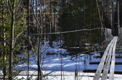 Ponte de suspensão de madeira rachada velha para o pedestre sobre a em parte Imagens de Stock