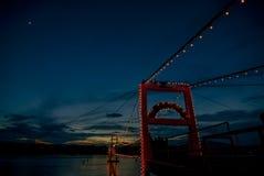 Ponte de suspensão de Rattanakosin Fotografia de Stock