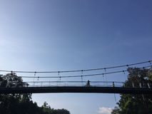 Ponte de suspensão do curso em Sai Yok National Park Kanchanaburi Tailândia fotografia de stock