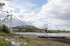 Ponte de suspensão em Laugaras, Islândia Imagem de Stock
