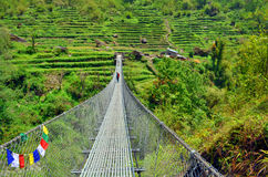 Ponte de suspensão em montanhas Himalaias Trilha do acampamento base de Annapurna Fotos de Stock Royalty Free