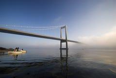 Ponte de suspensão fria e azul Fotografia de Stock Royalty Free