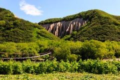 Ponte de suspensão perto dos afloramento do polimento do bata de Kuthin Reserva de Kronotsky, península de Kamchatka fotos de stock royalty free