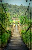 Ponte de suspensão que cruza o rio fotografia de stock