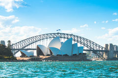 Ponte de Sydney Opera House e do porto Fotos de Stock Royalty Free