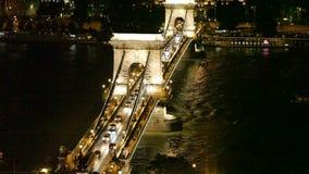 Ponte de Szechenyi através de Danúbio em Budapest vídeos de arquivo
