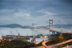 Ponte de Tsang miliampère em Hong Kong antes do tufão. Fotos de Stock Royalty Free