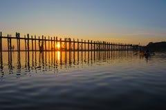 Ponte de U Bein, Mandalay, Myanmar Imagem de Stock Royalty Free