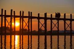 Ponte de U Bein, Mandalay, Myanmar Imagem de Stock