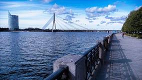 Ponte de Vansu, Riga, Letónia Fotografia de Stock Royalty Free