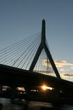Ponte de Zakim no por do sol Imagem de Stock Royalty Free