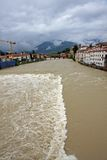Ponte degli alpini in bassano during a strong wave of bad weathe Stock Photos
