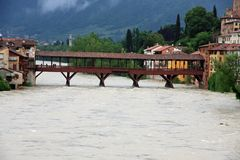 Ponte degli alpini in bassano during a strong wave of bad weathe Royalty Free Stock Photography