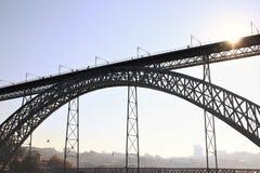 Ponte dei DOM LuÃs I a Oporto, Portogallo, destinazione turistica Immagine Stock Libera da Diritti