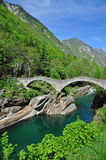 Ponte dei Salti,Lavertezzo,Ticino. The bridge called ponte dei salti in the verzasca valley near locarno,lake maggiore,ticino,switzerland Royalty Free Stock Image