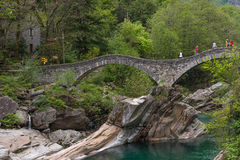 The Ponte dei Salti in Verzasca valley, Switzerland royalty free stock images