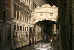 Ponte dei Sospiri. The Bridge of Sighs or with its Italian name the Ponte dei Sospiri at night, Venice, Italy, Europe Royalty Free Stock Image