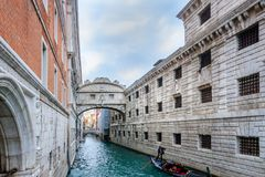Ponte dei Sospiri Bridge of Sighs  and the canal  Rio di Palazzo. Venice lagoon city Italy the most famous sights Stock Photography