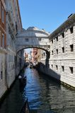Ponte dei sospiri. The Ponte dei Sospiri (Bridge of Sighs) in Venice, Italy. Built in 1602 by Antonio Contino is made of white limestone and has windows with Stock Images