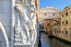 Ponte dei Sospiri (Bridge of Sighs) in Venice, Italy. Venice is situated across a group of 117 small islands that are separated by canals and linked stock photo