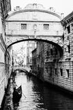 Ponte dei sospiri with a gondola floating towards it. Venice, It Royalty Free Stock Image