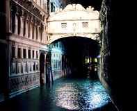 Ponte dei Sospiri by night. Venice, Italy royalty free stock images