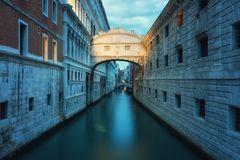 Ponte dei Sospiri in Venice. Early in the morning before sunrise Stock Image
