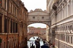 Ponte dei Sospiri in Venice - Italy. Bridge of Sighs over the Rio di Palazzo della Canonica between the Doge's Palace and the prison Prigioni Nuove of Venice in Royalty Free Stock Photography
