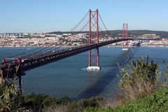 Ponte del 25 aprile a Lisbona Fotografie Stock