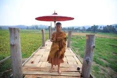 Ponte del bambù e del monaco Fotografia Stock Libera da Diritti