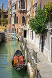 Ponte del diabolo and a canal with gondola, Venice, Italy. Ponte del diabolo and a canal with gondola in Venice, Italy Royalty Free Stock Photography