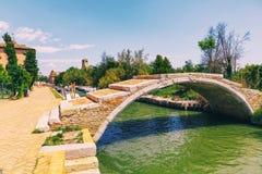 Ponte del diavolo - Devil`s Bridge in tiny Torcello island, near Stock Photos