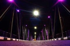Ponte del ferro alla notte in chiangmai fotografia stock