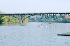 Ponte del palazzo della fragola della concorrenza di regata del fiume di Schuylkill Fotografie Stock Libere da Diritti