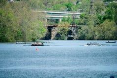 Ponte del palazzo della fragola della concorrenza di regata del fiume di Schuylkill Immagine Stock Libera da Diritti