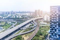 Ponte del passaggio di scambio a Nanchino fotografie stock libere da diritti