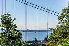 Ponte del portone dei leoni incorniciato dagli alberi un chiaro giorno fotografia stock libera da diritti
