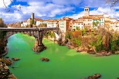 Ponte del ` s del diavolo di Cividale del Friuli e pentola del canyon del fiume di Natisone Fotografie Stock Libere da Diritti
