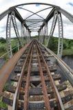 Ponte del treno del fiume Fotografia Stock
