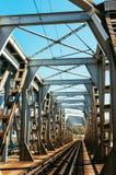 Ponte del tunnel di ferrovia del metallo Fotografia Stock Libera da Diritti
