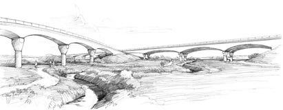 Ponte dell'arco sopra il ruscello Immagine Stock