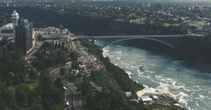 Ponte dell'arcobaleno del Canada di cascate del Niagara Fotografia Stock