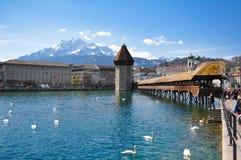 Ponte della cappella, Lucerna Immagine Stock Libera da Diritti