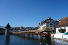 Ponte della cappella, Svizzera Fotografia Stock Libera da Diritti