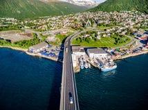 Ponte della città Tromso, Norvegia Fotografie Stock Libere da Diritti