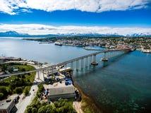 Ponte della città Tromso, Norvegia Immagine Stock