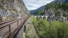 Ponte della ferrovia del viadotto di Landwasser, Svizzera Fotografie Stock Libere da Diritti