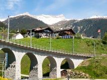 Ponte della ferrovia di Rhaetian Fotografie Stock
